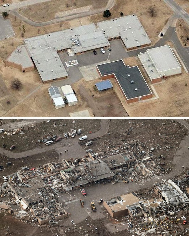 Before and after Tornado cuts devastating path