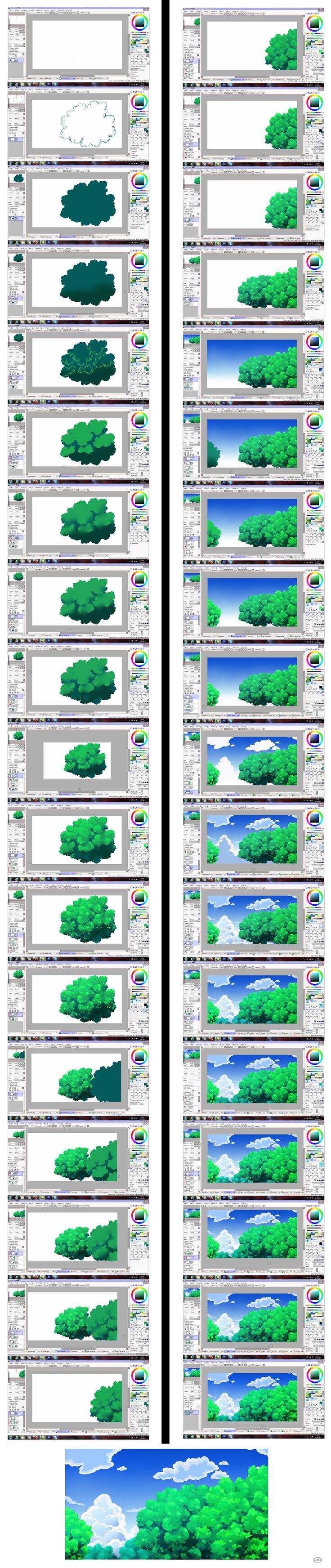 Pokemon Background Tutorial - Sky and Trees by MinaCookie.deviantart.com on @deviantART