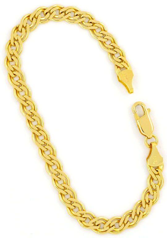 Foto 4, Doppel Flachpanzer Schmuckset Halskette und Armband 585, K2450