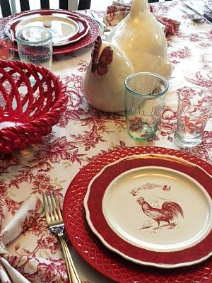 Red Rooster Table Setting