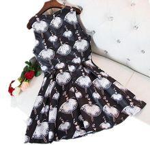 2017 новое лето sweet Рукавов сарафаны танцующая девушка печати платья женщин Тонкий тонкий жилет puff dress G322(China (Mainland))