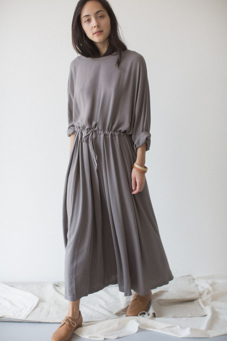 Black Crane Grey Pleats Dress