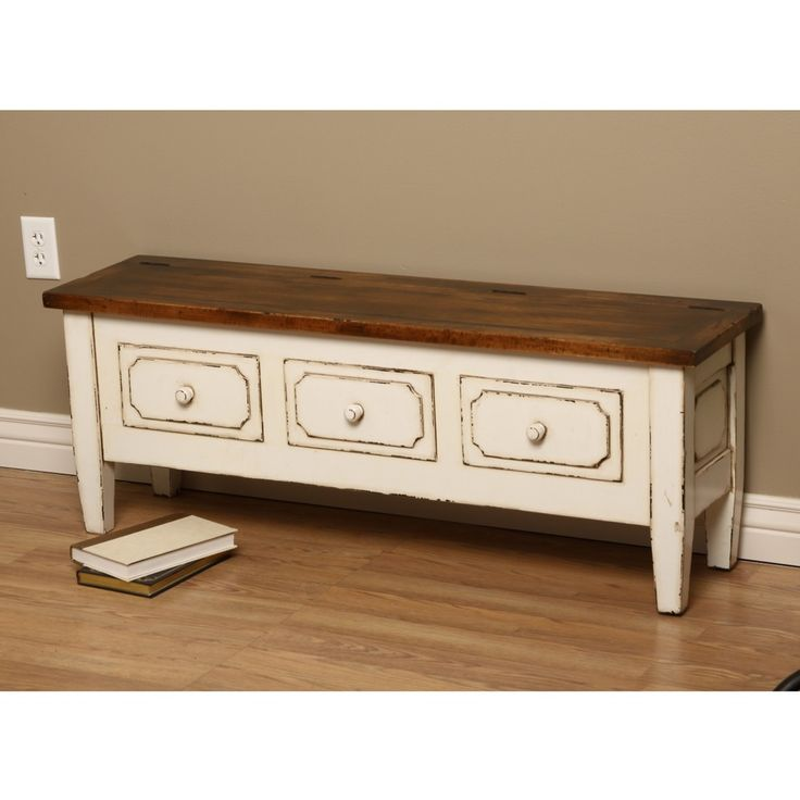 Antique White Spartan Wooden Bench With Three Drawers