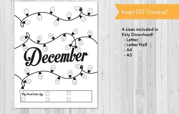 Mood Tracker, Monthly Journal Insert, BuJo Mood Tracker, Journal Tracker, October, November, December