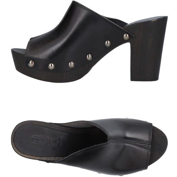 Coach Mules (29.390 RUB) ❤ liked on Polyvore featuring shoes, black, leather shoes, black leather shoes, leather mules shoes, black mule shoes and rubber sole shoes