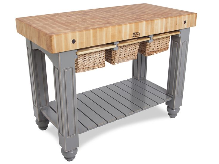 Boos Gathering Block III - 48x24 Butcher Block Table, 3 Wicker Basket Drawers at http://butcherblockco.com