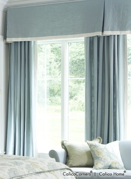 fan pleated draperies from the heirloom fabric bedroom