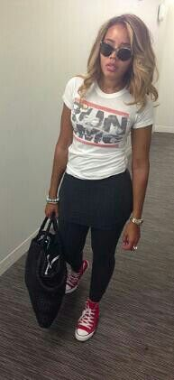 Angela Simmons - love this outfit! I need red chucks now