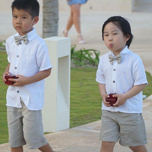 Natürliche Leinen Jungen Anzug. Hemd, Shorts, Schleife Set.