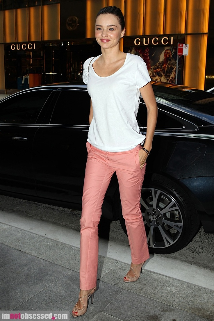 peach pants, white shirt, nude shoes