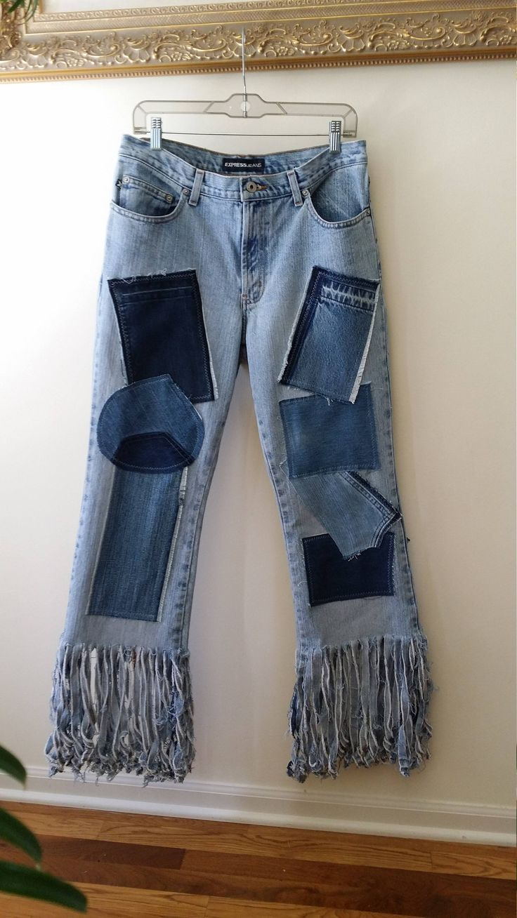 Re-styled JEANS with Denim PATCHES and FRINGE Womens Size | Etsy