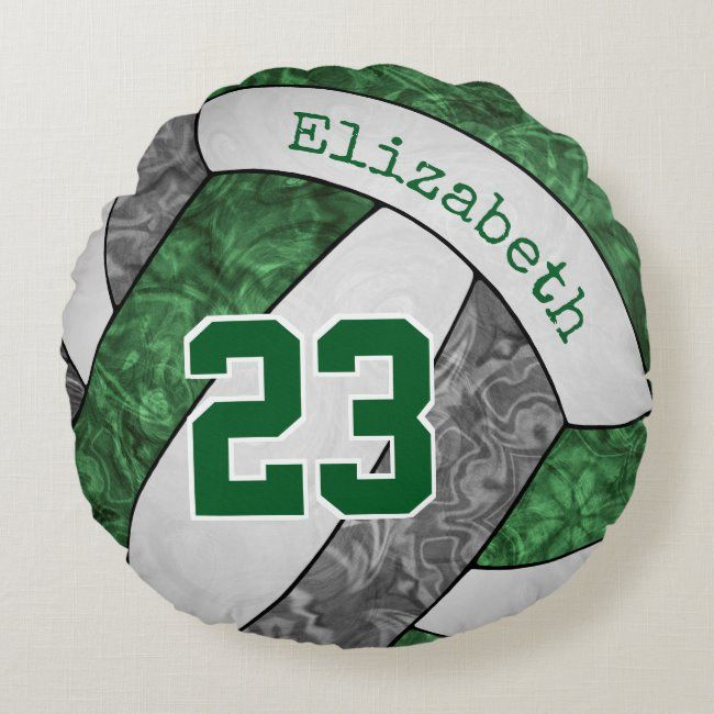 Green Gray White Personalized Girls Volleyball Round Pillow Zazzle Com In 2020 Volleyball Team Team Colors Team Logo Design