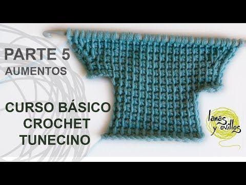 Curso Básico Crochet o Ganchillo Tunecino: Parte 5 Aumentos - YouTube