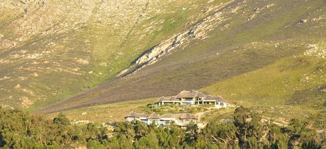 Bezweni Lodge on the horizon - against the slopes of the Hottentots-Holland mountain range overlooking False Bay.