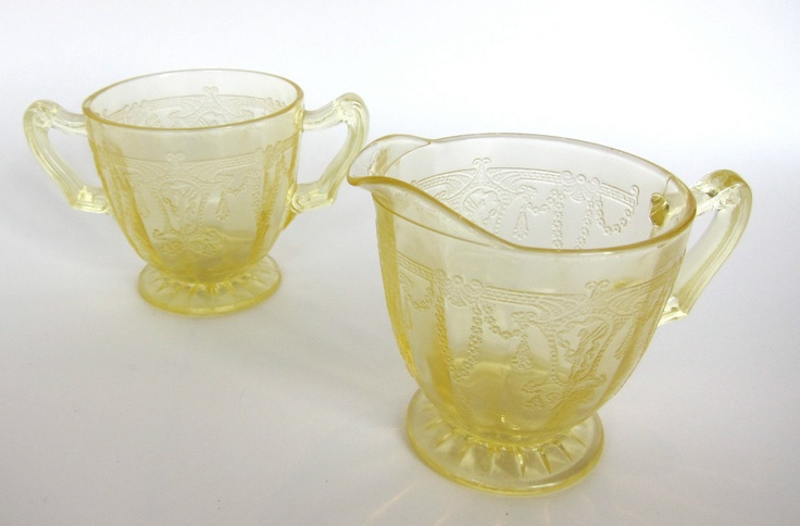 Yellow Depression Glass Set, Creamer & Sugar Bowl