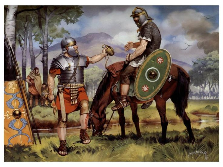 Legionary foot soldier and auxiliary cavalryman. Mid 2nd century CE. Art by Angus McBride