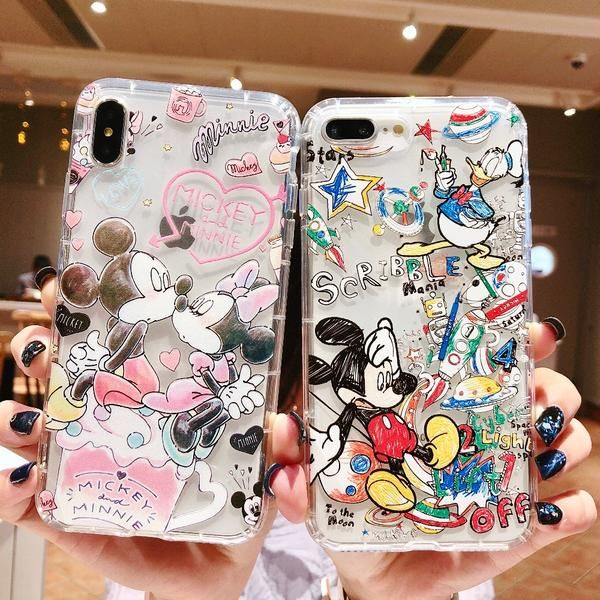 finest selection e570f 684e4 Doodle Graffiti Scribble Minnie Mickey Mouse Cartoon Clear Soft TPU ...