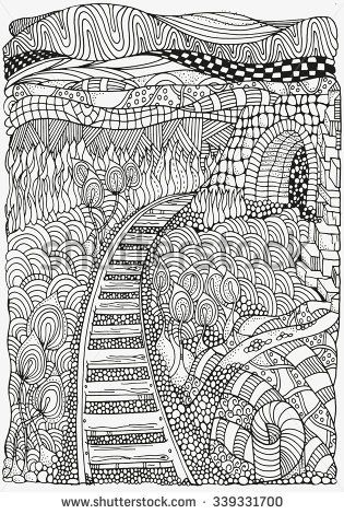 Black and white abstract fantasy picture. Railway. Long Road. Eco theme. Pattern for coloring book