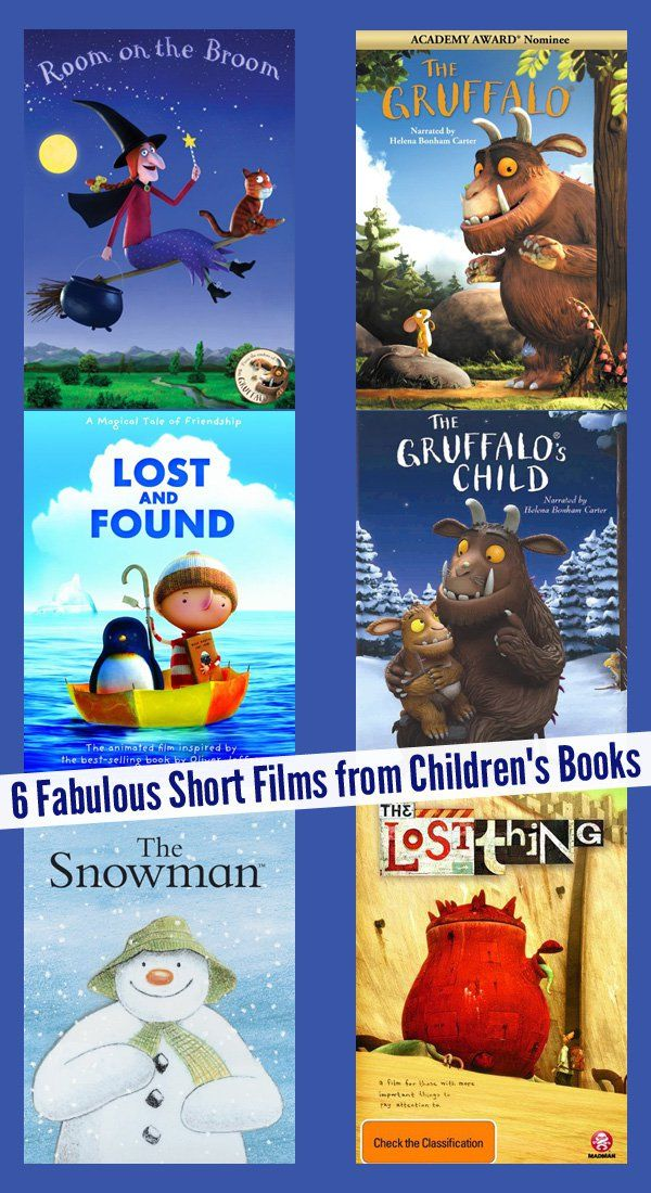 6 Fabulous Short Films from Favourite Children's Books. A great selection for preschoolers and early elementary aged children.