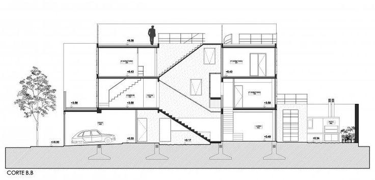 cortes arquitectonicos de casas de escaleras - Buscar con Google