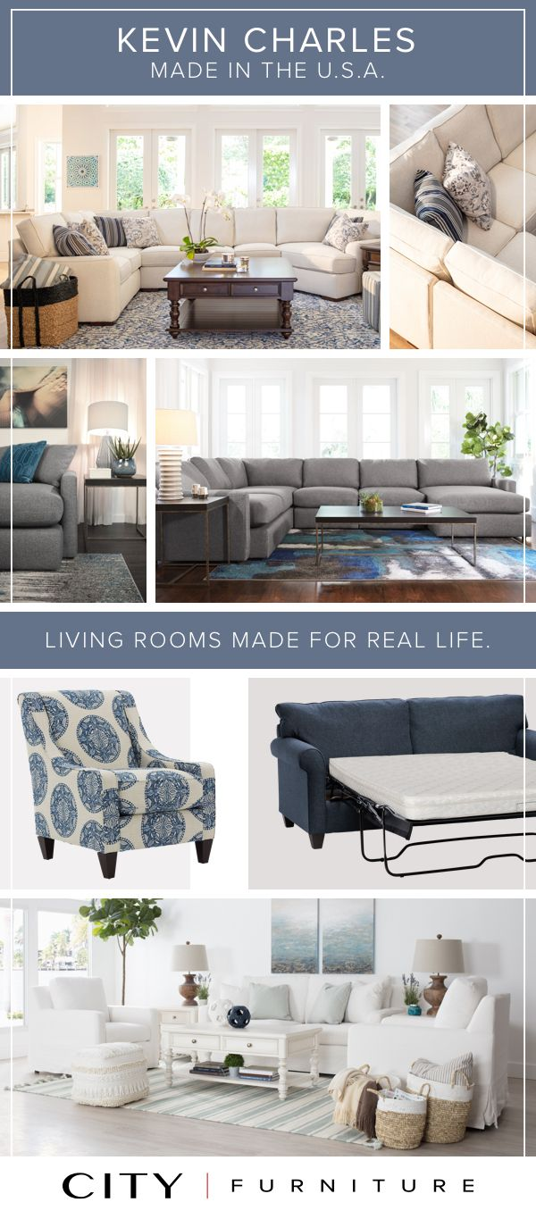 All Of Our Kevin Charles Sofas Sleepers Loveseats Accent Chairs And Other Living Room Furniture Is Made Righ City Furniture Furniture Living Room Furniture
