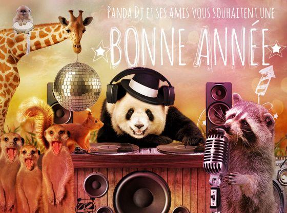 Panda DJ souhaite du bonheur à tous vos amis sur cette carte virtuelle gratuite fun !