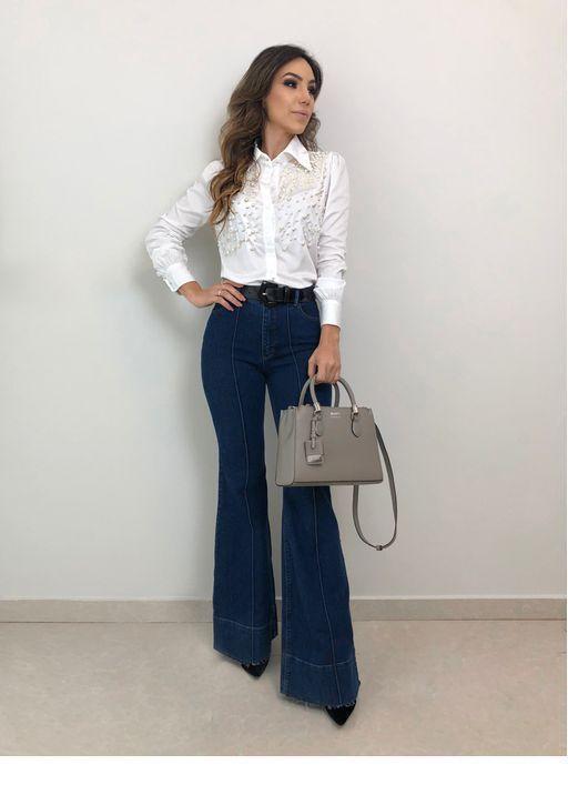 Pantalon Oxford Mujer Mezclilla Moda Moda Ropa De Trabajo Ropa De Moda