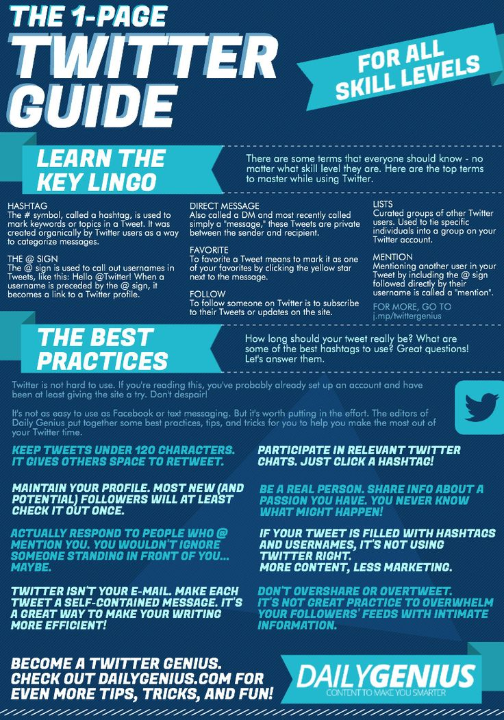 A printable 1-page Twitter guide for all skill levels