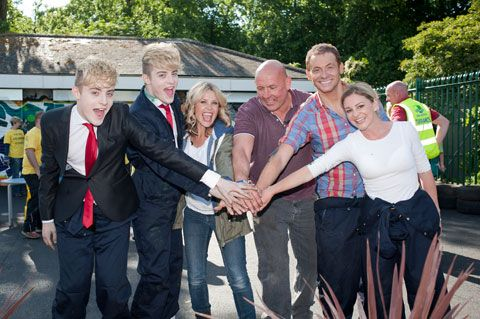 Melinda Messenger congratulates Jedward, Cowboy Builders handyman John Russell, and EastEnders Nicola Stapleton and Joe Swash on their efforts at the P Capital Clean Up in Victoria Park at the weekend.