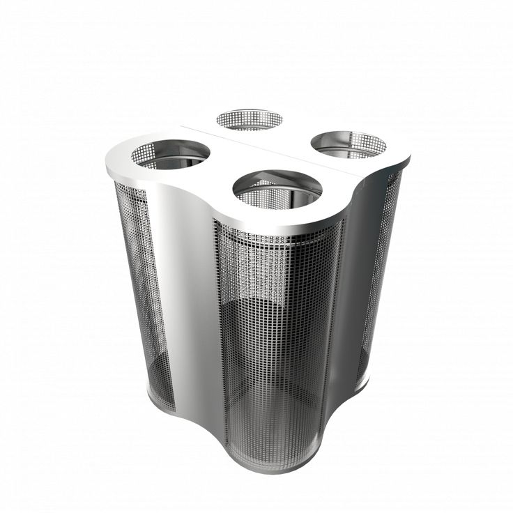 POLARIS SSTM - Modern concept stainless steel and mesh recycling bins station