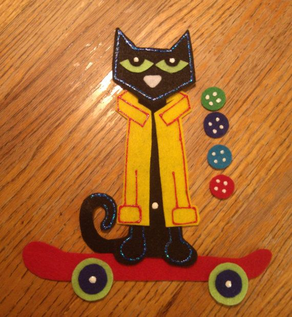 Flannel Felt Board Story Pieces Pete the Cat and His Four Groovy Buttons NEW for Classroom Storytime storytelling preschool teacher