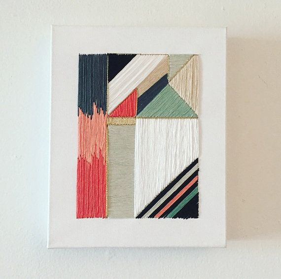 Handcrafted Geometric Embroidery by Michaelyn Schrock via Lymestonestudio on Etsy