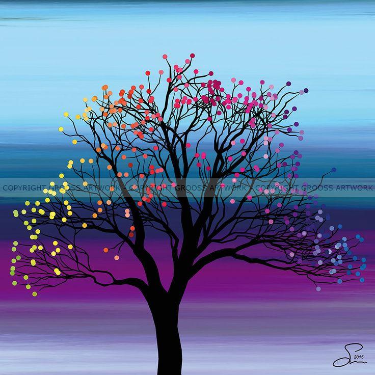 Small tree ''Four'' - 30 X 30 cm - Grafisk kunst på lærred af Søren Grooss