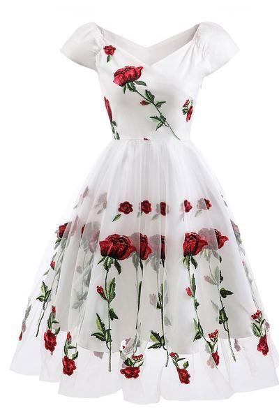 Black Off-the-shoulder Rose Embroidered A-line Prom Dress