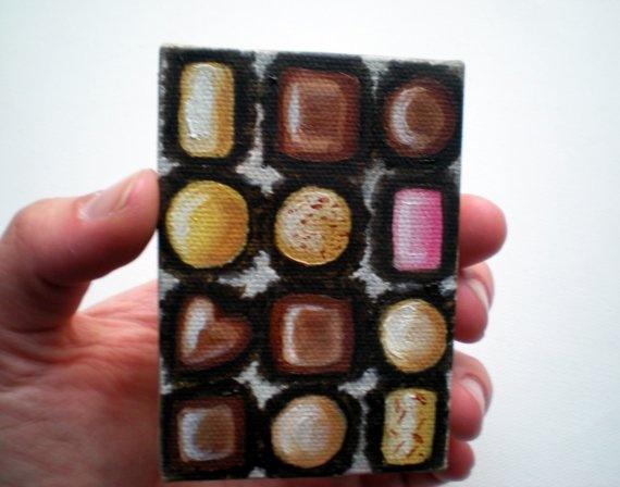 Original Mini Box of Chocolates Pocket Art Oil by cupcakemanor, $45.00