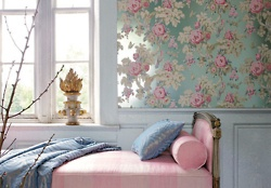 Pink and blueDecor, Rose, Floral Wallpapers, Beds, Blue, Shabby Chic, Colors, Pink, Bedrooms