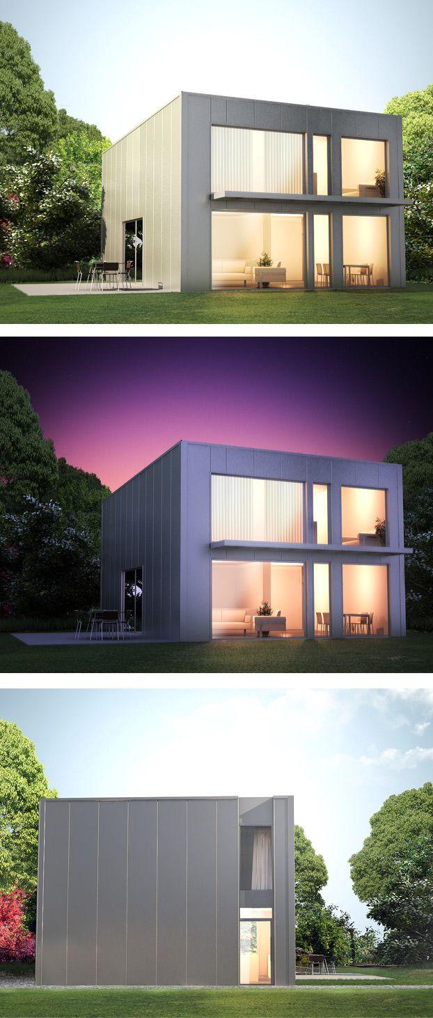 Illustration 3D: Maison métallique à faible consommation énergétique