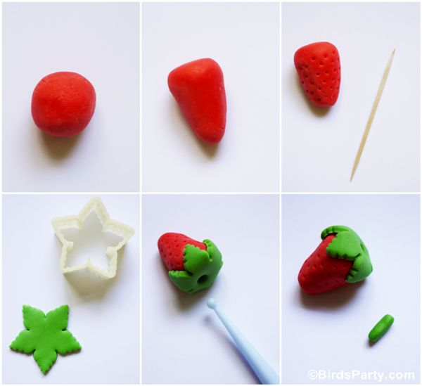 Tutorial on How to Make Strawberry Sugar Paste Fondant Toppers