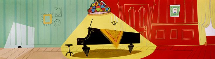 """Some more Looney Tunes backgrounds. These ones are from the 1955 Friz Freleng directed short """"Pizzicato Pussycat"""""""