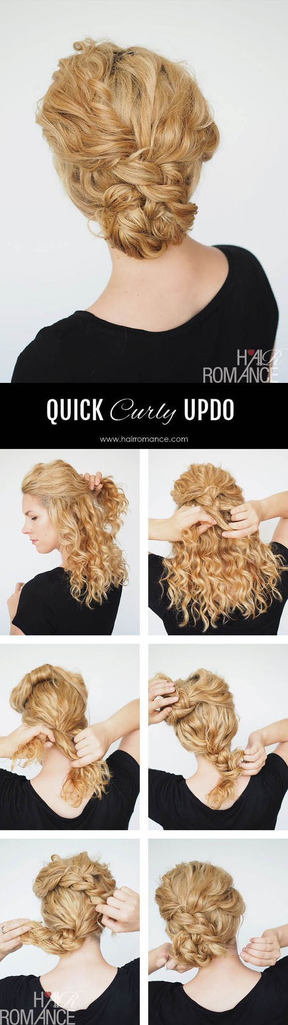 This quick curly updo is going to be your new curly go-to style.  I love wearing my curls out but on day two (and three, and four..) I'll usually put my hair up. This style is super quick and takes le