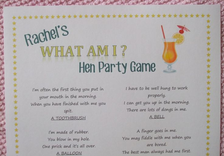 Personalised Hen Night Party Game