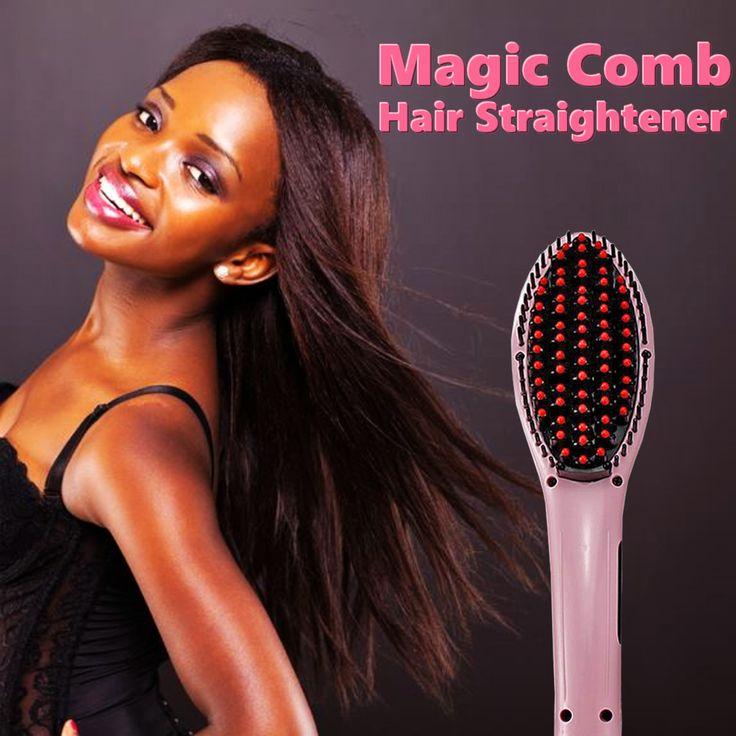 Electric Hair Straightener Comb LCD Iron Brush Auto Massager