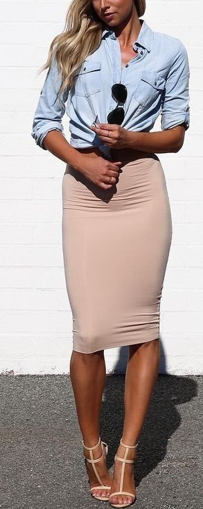 Summer style with nude pencil skirt and denim top