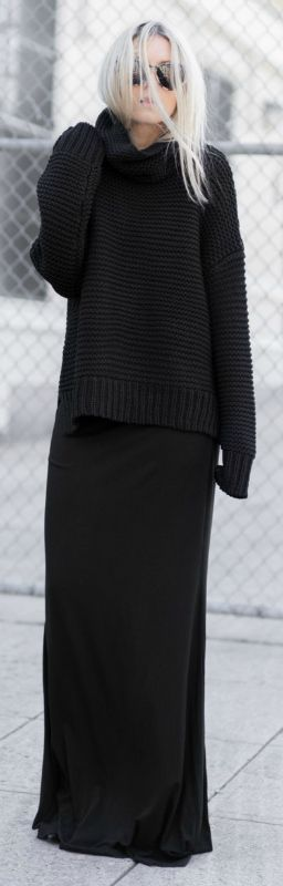 Figtny shows us exactly how the all-black trend should be worn in this floor length maxi dress and cute extra long sleeved knitted sweater combination. If you desire simplistic chic, this is a definite style you should try. Dress/Knit: Primary NY, Jacket: Naked Vice.