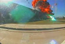 File:Pentagon Security Camera 1.ogv  At 1:25 a huge explosion with no apparent plane in sight