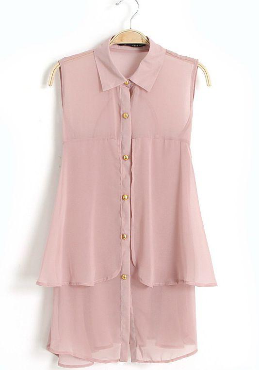 Pink Sleeveless Ruffle Embellished Chiffon Blouse