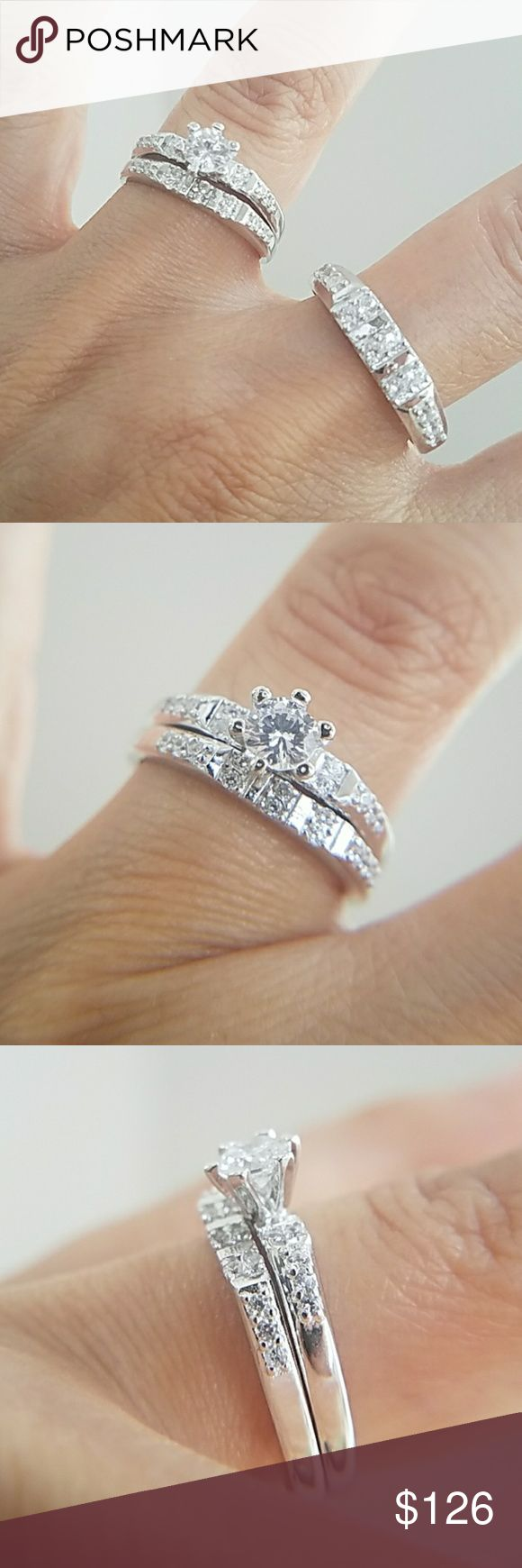 3pc set Engagement ring & wedding Bands men women 3pc set. Women's Engagement Ring with Wedding Band for Bride and Groom. 3pc set. 1/2 karat cubic zirconia center stone in a 14k White Gold plated over Sterling silver setting.  Available in all sizes.  Please message me your ring size your Ring sizes.  Thanks Jewelry Rings