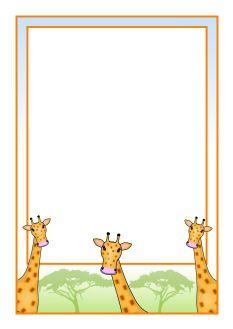 Giraffe A4 page borders (SB9222) - SparkleBox