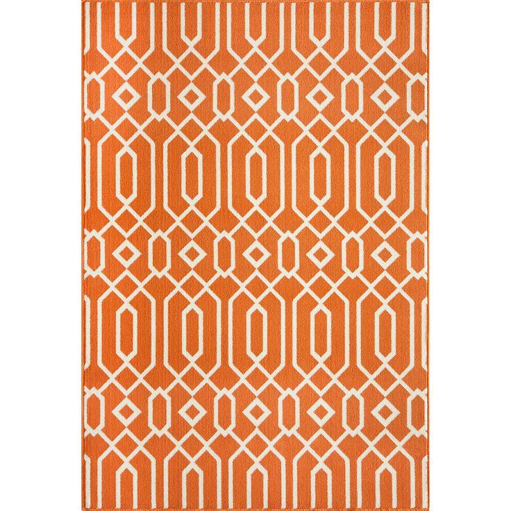 Indoor Outdoor Orange Links Rug 2 3 x 4 6