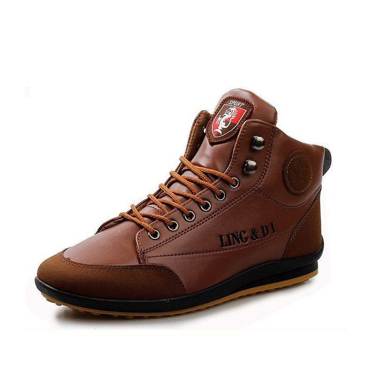 XiaGuoCai New Arrival Fashion High-top Men Shoes Lace-up Comfortable Round  Toe Flat Driving Shoes Antiskid Men Casual Shoes